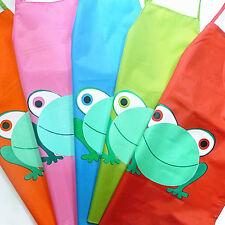 New Cute Kids Waterproof Apron Cartoon Frog Printed Painting Cooking Intriguing