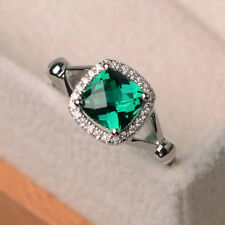 Cushion Cut Emerald 1.70 CT Gemstone Rings Solid 14kt White Gold Ring Size M N