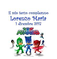 Pj Masks Super pigiamini 10 bigliettini bigliettino biglietti compleanno torta
