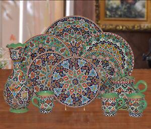 Vintage Decorative Hand Made Persian Turkish Ottoman Plate TeaSet Bowl