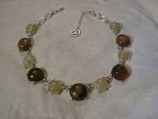 ...TRIFARI...Silver Tone,Assorted Domed Lucite Panels Necklace...