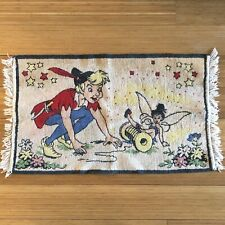 """Vtg Chenille Throw Rug Childrens Storybook Fairy Peter Pan? 35"""" x 20"""""""