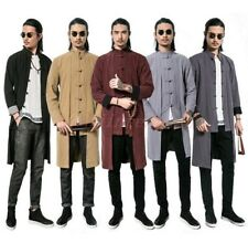 Chic Mens Trench Coat Button Cotton Linen Tang Suit Chinese Style Casual Jacket