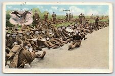"Military~Soldiers in Gear ""Resting""-Sitting in Grass~Soldier Points Gun~1918"