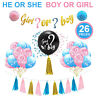 26PCS Latex Balloon Boy Or Girl / He Or She  Baby Shower Set Home Party Decor