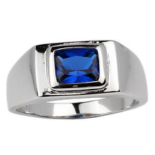 Sterling Silver Men Ring 925 Stamped Jewelry Simulated Blue Sapphire CZ Size 10