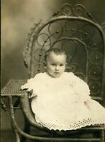 RPPC ADORABLE BABY on LOVELY RATTAN CHAIR ANTIQUE REAL PHOTO POSTCARD