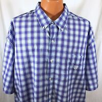 NEW $60 Chaps Easy Care Shirt Mens 3XB 4XB Big and Tall Blue Plaid Button Up A44