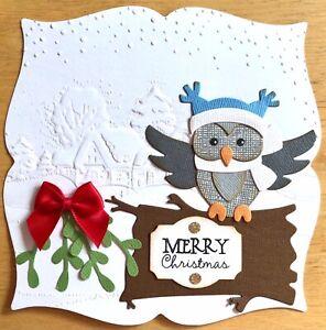 Handmade By Susie Embossed Owl Scene Christmas Card Topper FLAT RATE UK P&P