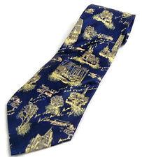 "Kai Long Blue & Gold Men's Tie 100% Silk 4"" Wide Woods Medieval Village Poetry"