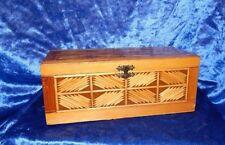 ANTIQUE FOLK TRAMP ART MATCH STICK TRINKET JEWELRY BOX HINGED LID & SNAP LOCK