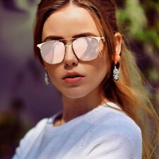 ROSE GOLD Cat Eye Women Ladies Aviator Sunglasses Mirrored Reflective Retro UK