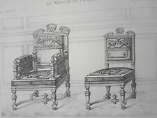 Fauteuil Chaise LOUIS XIII GRAVURE le MAGASIN de MEUBLES Victor QUETIN XIXéme