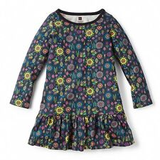 NWT Tea Collection Folklorico Ruffled Dress Sz: 6 Heritage Blue