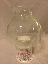Clear Glass Dome Globe Ceramic Hurricane Lamp Candle Holder