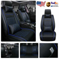 PU Leather Car SUV Seat Cover Protector Cushion Set Universal Front Rear Pillows