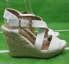 """new ladies white 4.5""""High Wedge Heel 1.5""""Platform Open Toe Sexy Shoes Size  6.5"""