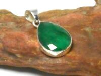 Teardrop  EMERALD  Sterling  Silver  925  Gemstone  PENDANT  -  Gift Boxed
