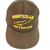 Monticello Rod & Gun Club Vintage Snapback Brown Mesh Truckers Hat Cap