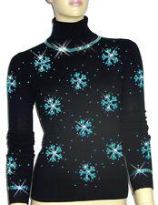 LUXE OH `DOR 100% Cashmere Pullover Luxus Schneeflocken schwarz türkis 38/40 M