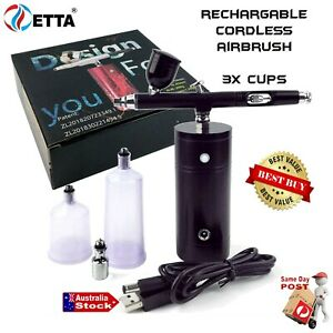 PORTABLE CORDLESS RECHARGABLE AIRBRUSH COMPLETE AIR-BRUSH SPRAY PAINT SYSTEM KIT