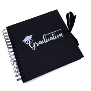 Graduation Black Scrapbook, Guest Book Or Photo album With Silver Script