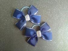Pair of Navy Blue hair bows - bobbles