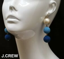 J.CREW crochet bead pearl drop earrings knit ball dangle cobalt light sky blue