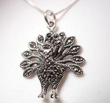 Peacock Marcasite Necklace 925 Sterling Silver Corona Sun Jewelry