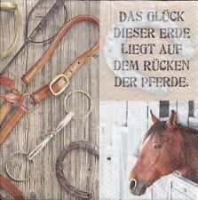 2 Serviettes papier Fer à Cheval Chance Decoupage Paper Napkins Horses