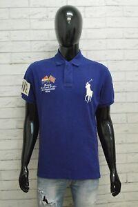 Polo Uomo Ralph Lauren Taglia L Maglietta Shirt Cotone Maglia Blu Manica Corta