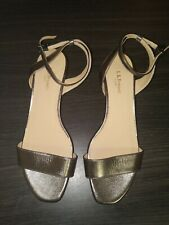 L.K.bennett London Sandal Heel Shoes Gold With Olive Tint New 37