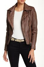Muubaa Women's Patara Leather Biker Jacket Brown Blush Size US 6, UK 10 $525