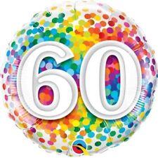 """60. Geburtstag Regenbogen Konfetti 18"""" Folien Ballon für Luft / Helium Qualatex"""