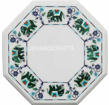 "15"" Marble Side Coffee Table Top Abalone Shell Elephant Inlay Home Decor"