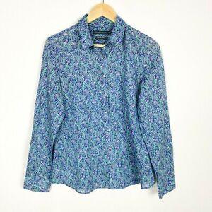 SPORTSCRAFT Size 10 100% Cotton Blouse Top Collared Shirt Blue Green Office