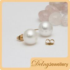 Brand New 14K Yellow/Gold White F'Water Pearl Earring Stud 9-9.5mm Gift Souvenir