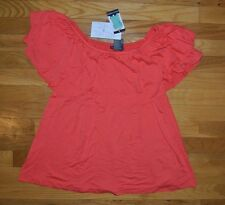NWT Womens Chelsea & Theodore Coral Ruffled Tier Top 4-Way Blouse Shirt Sz LARGE