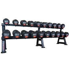 POWER MAXX 12.5kg to 35kg Round Rubber Dumbbell Set With Stand // Weights Gym
