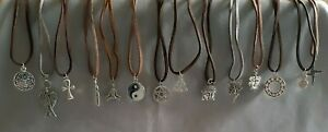 Silver pendant on faux suede thong. Pagan; wicca; pentagram; goddess; shamanic
