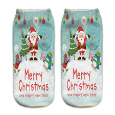 3d Unisex Print Cute Santa Claus Socks Low Cut Harajuku Christmas Boat Sock 6