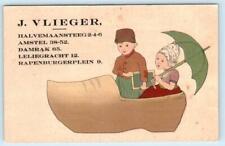AMSTERDAM, NETHERLANDS ~ Advertising J. VLIEGER Bookstore 65 Damrak  Postcard