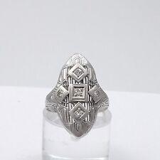Art Deco 14K White Gold .15ct Diamond Filigree Navette Pinky Ring Sz 4