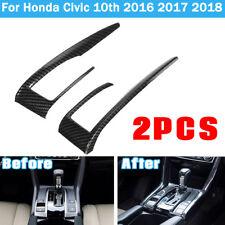 2X Carbon Fiber Gear Interior Shift Frame Cover Trim For Honda Civic 10th 16-18