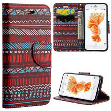 For iPhone 6 / 6S - Red Blue Boho Aztec Card ID Wallet Diary Pouch Case Cover