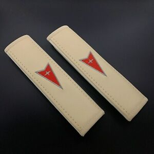 Pontiac soft Beige seat belt covers pads with red embroidery 2pcs