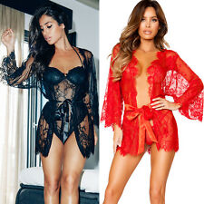Sexy Lingerie Robe En Dentelle Babydoll Femmes Sous-vêtement G-string Sleepwear