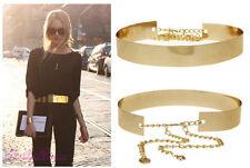 Women Full Metal Mirror Waist Belt Metallic Gold Plate Wide Obi Band With Chains