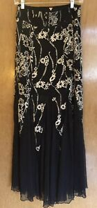 Free People Windswept Black Embroidered Mesh Maxi Skirt Boho SZ 2 Stevie Nicks