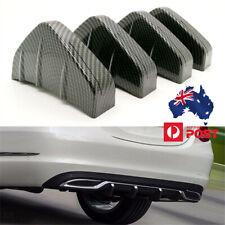 4pcs Rear Bumper Diffuser Lip Curved 4Fins Spoiler Protector Cover Carbon Fiber